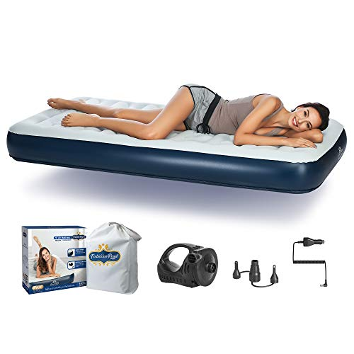 Forbidden Road Air Mattress, Twin and Queen Size Portable Inflatable Single Airbed with External Electric Pump Durable Firm Blow Up Raised Bed with Storage Bag (Twin, 75.2