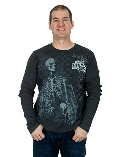 Men's MMA Elite Long Sleeve Thermal Style Shirt (Charcoal Gray, Medium)