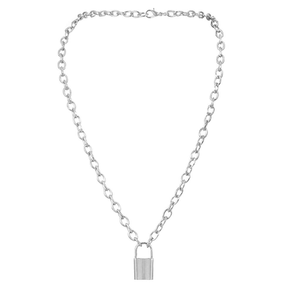 jasminelady Unisex Simple Lock Pendant Charm Chain Necklace Jewelry Accessory Gift Silver
