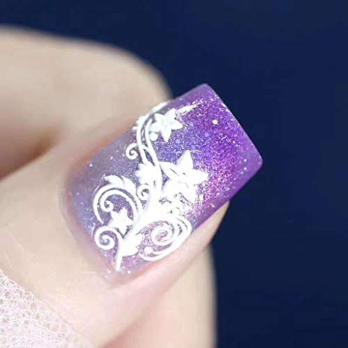 1Pc Nail Applique Matte 6D Engraved Acrylic Nail Sticker Nail Sticker Embossed Flower Water Engraving Craft Stereo Sticker Nail Sticker Self-Adhesive Art Sticker Decals for Girls