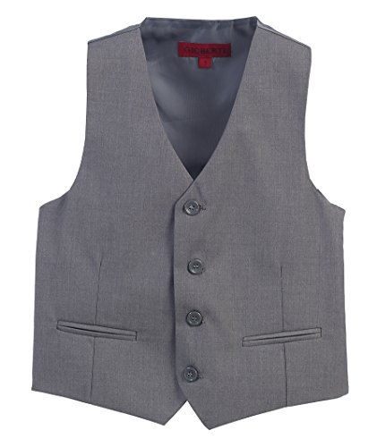 Gioberti Boy's 4 Button Formal Suit Vest, Gray, Size (Boys Gray Vest)