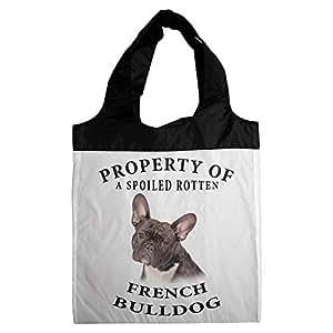 Francés Bulldog brindlewhite propiedad de compras–perro juguete–Tote Bag