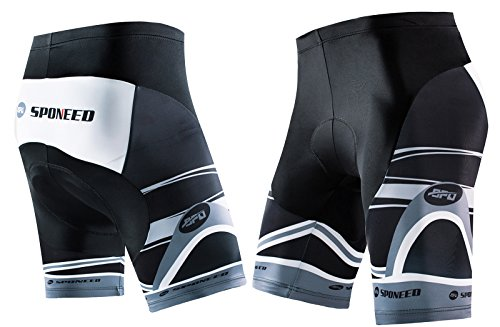 sponeed Mens Bicycle Shorts Coolmax Spin Bike Pants with Padding Cycle Bottoms No Pockets Asian XXL/US XL Gray Multi ()