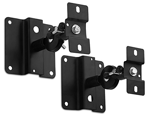 Speaker 10 Mount Lb Ceiling - Mount-It! Speaker Mount For Wall and Ceiling, Low Profile Heavy Duty, Anti-Theft, Universal For Channel Surround Sound and Satellite Speakers, Black, 2 Mounts