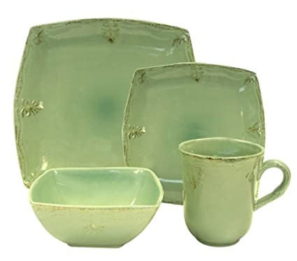 Churchill China Country Crafts Pantine Green Square 16-Piece Dinnerware Set Service for 4  sc 1 st  Amazon.com & Amazon.com | Churchill China Country Crafts Pantine Green Square 16 ...