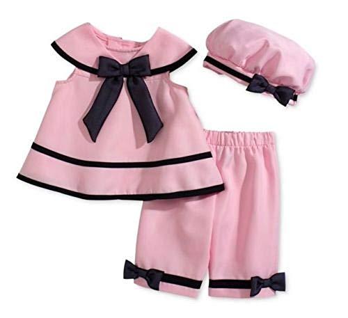 Rare Editions Baby Girls' Sailor 3-Piece Pink Dress, Capri Pants, Hat Se ()