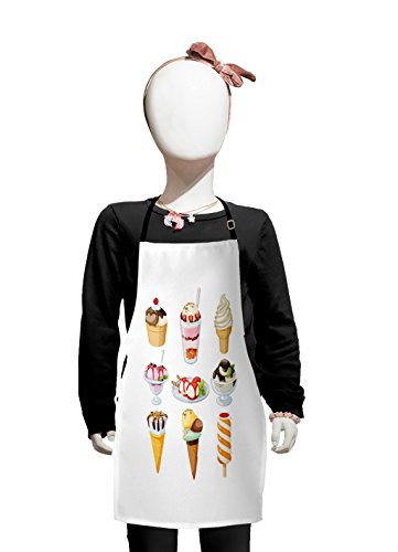 Lunarable Ice Cream Kids Apron, Tasty Desserts Drizzled with Syrup in Waffle Cups and Plates Ice Lolly Nuts Mint, Boys Girls Apron Bib with Adjustable Ties for Cooking Baking and - Mint Nut