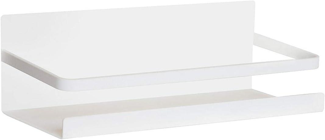 Fridge Spice Rack Organizer Single Tier Magnetic Refrigerator Spice Storage Magnet Shelf, White