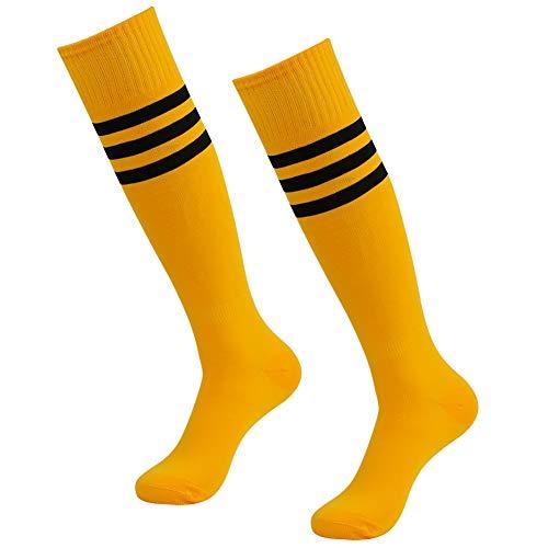 (Football Socks Men, SUTTOS Athletic Over Knee Unisex Team Socks Solid Baseball Soccer Sports Tube Socks Back To School Gifts,2 Pairs-Yellow-Stripe)
