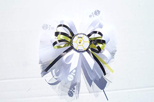 Bumble Bee Baby Shower Theme Corsage Buttons Pin For Guest or Grandma (Yellow, Black and White) ()