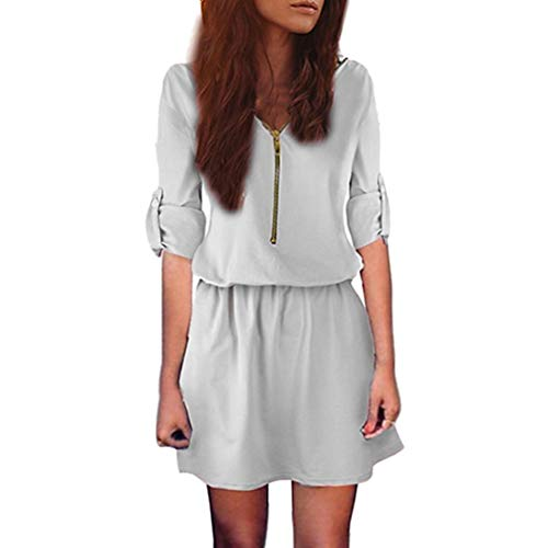DEATU Ladies Dress, Teen Girls Womens Zip Elastic Waist V Neck Long Sleeve Tunic Solid Casual Sexy Mini Dress(Gray,L)