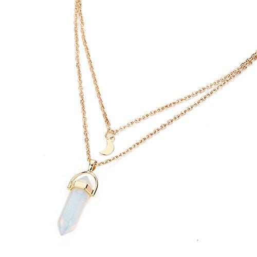 Joyería Piedra preciosa Piedra Natural Cristal Cuarzo Punto de curación Piedra de chakra Chapado en oro Gargantilla Collar colgante (Blanco)