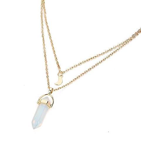 Jewelry Gemstone Rock Natural Crystal Quartz Healing Point Chakra Stone Gold-plated Choker Pendant Necklace - Gemstone Point Pendant