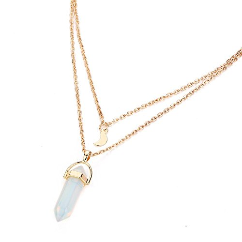 Jewelry Gemstone Rock Natural Crystal Quartz Healing Point Chakra Stone Gold-plated Choker Pendant Necklace (White)