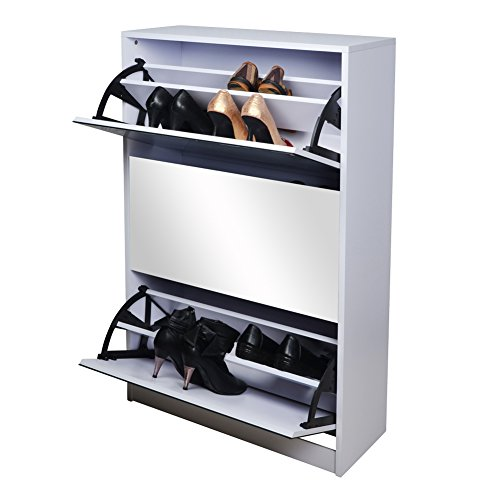 GLS White Wooden Mirrored Shoe Cabinet Storage with 3 Doors for Entryway (Cabinet Mirrored Display)