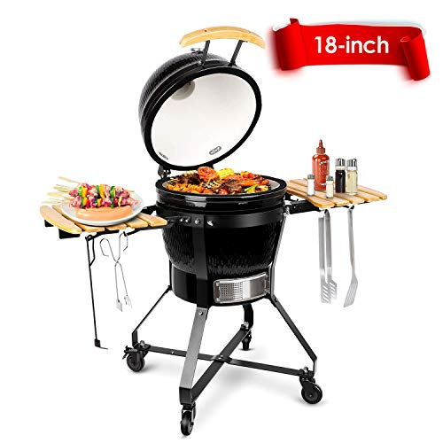 TUSY Charcoal Grill,18-inch Advanced Grill Ceramic with Digital Thermometer, Stable Rack for Moving Anywhere, Suitable for 5-12 People Camping Barbecue -Black