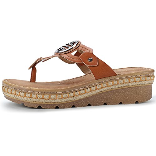 Alexis Leroy Women's Slingback T-Strap Casual Slip On Flip Flops Shoes Camel rSz8GO2