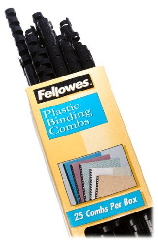 Fellowes Plastic Comb Binding Spines, 1/2 Inch Diameter, Black, 90 Sheets, 25 Pack (52323)