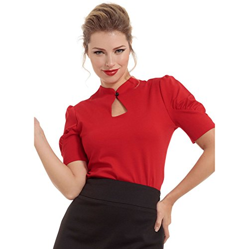 Womens-Voodoo-Vixen-Dita-Gathered-Sleeve-Stretch-Knit-Top-Red