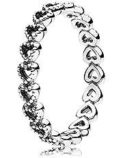 خاتم اوبن وورك على شكل قلب باللون الفضي من باندورا، طراز 190980-60