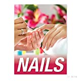 Perforated 2-Way Vinyl Holographic Window Art Decal for Nail Spa & Salon - Pressure Sensitive Adhesive Backing - Nails - 36 X 48 Inches - Made in USA