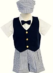 # 9-G821N-XL –Seersucker Outfit w/Navy Vest- Blue Stripe Shorts and Hat - Shirt and Tie - Made in USA