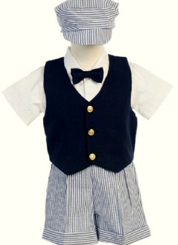 # 9-G821N- M -Seersucker Outfit w/Navy Vest- Blue Stripe Shorts and Hat - Shirt and Tie - Made in - 37