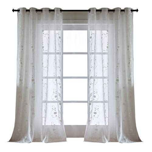 63 inches Long White Short Voile Curtains for Bedroom with Floral Embroidered, 2 Panels Grommet Top Fashionable Lightweight Rustic Crushed Semi Sheer Window Curtain for Kitchen