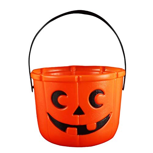Polymer 2pcs Halloween Pumpkin Bucket Candy Trick or Treat Bucket with Candle Light