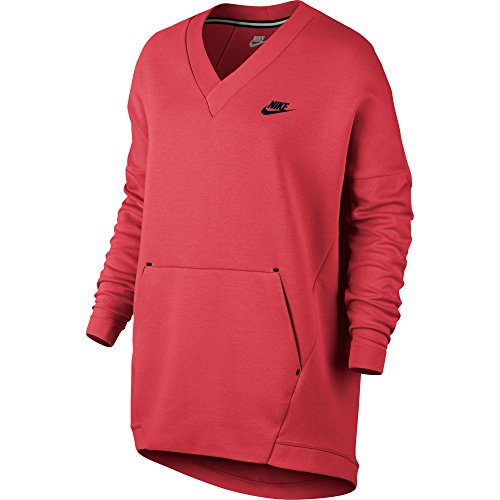 Nike Sportswear Tech Fleece Women's V-Neck Sweatshirt Ember Glow 803583-850 (Size XS) ()