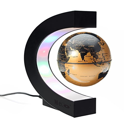 MECO 3' Magnetic Levitation Floating Globe C Shape Anti Gravity globe World Map with LED Lights for Learning Education Teaching Demo Home Office Desk Decoration Gold
