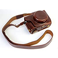 Full Protection Bottom Opening Version Protective PU Leather Camera Case Bag with Tripod Design Compatible For Olympus OM-D E-M10 Mark 2 EM10 Mark II with Shoulder Neck Strap Belt Dark Brown