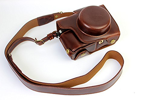 Case Olympus Protective - Full Protection Bottom Opening Version Protective PU Leather Camera Case Bag with Tripod Design Compatible For Olympus OM-D E-M10 Mark 2 EM10 Mark II with Shoulder Neck Strap Belt Dark Brown