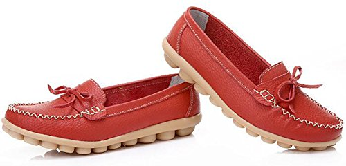 Summerwhisper Mujeres Sweet Bowknot Slip-on Driving Boat Zapatos Flats Mocasines De Cuero Rojo