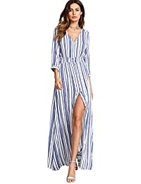 ce6d16515c77 Women s Button Up Split Floral Print Flowy Party Maxi Dress