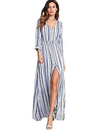 Milumia High Split Dress for Women, Quarter Sleeves Lightweight Stripe Stylish Blue and White XS