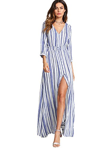 Milumia Women's Button Up Split Floral Print Flowy Party Maxi Dress Large Blue White Stripe -