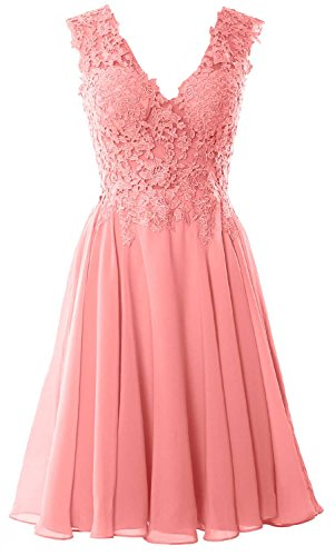 MACloth Gorgeous V Neck Cocktail Dress Short Lace Prom Homecoming Formal Gown Zartrosa DosiRGlFDu