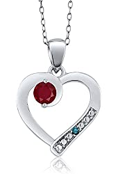 0.32 Ct Round Red Ruby Blue Diamond 925 Sterling Silver Pendant