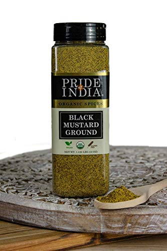 Pride Of India- Organic Black Mustard Seed Ground - 18 oz (510gm) Large Dual Sifter Jar - Certified Pure Indian Vegan Spice- Best for Pickling, Chutney, Indian Food- Offers Best Value for Money ()