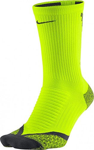 Nike Elite Cushioned Crew Running Athletic Socks, Volt/Anthracite, Size 10-11.5
