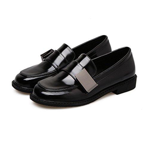 Mocassini Penny Da Donna Business Mocassino Classico A Punta Squadrata Slip-on Casual Con Tacco Blazer Scarpe Oxford Nere
