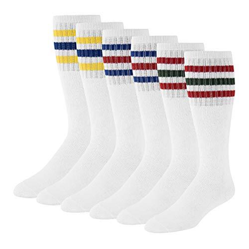 Men's Striped Tube Socks Over the Calf High (6-Pair) Size 9-10-13-15