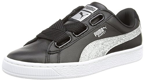 Pumas Damen Panier Sneaker Paillettes Coeur Schwarz (noir-argent)