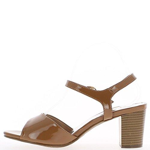 Sandales grande taille camel vernies à talon de 8cm