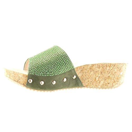 Angkorly - Zapatillas de Moda Mules Sandalias zapatillas de plataforma mujer strass tachonado corcho Talón Plataforma 5 CM - Verde
