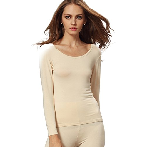 Scoop Neck Silk Sweater - Liang Rou Women's Scoop Neck Ultrathin Underwear Shirt Apricot XL