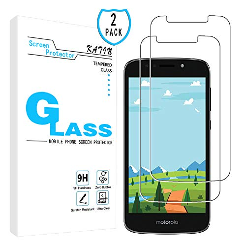 KATIN Moto E5 Play Screen Protector - [2-Pack] Tempered Glass for Motorola (Moto E5 Play) / Moto E Play (5th Gen) / E5 Cruise Bubble Free with Lifetime Replacement Warranty