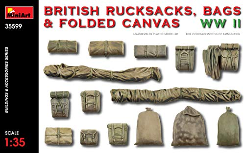 - MiniArt 35599 British Rucksacks, Bags & Folded Canvas WWII, Buildings and Accessories Collection 1/35 Scale Model Kit