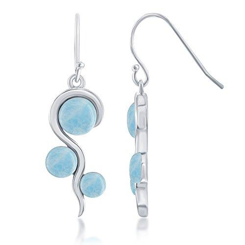 (Sterling Silver Natural Larimar in Swirl Design Dangle Earrings)
